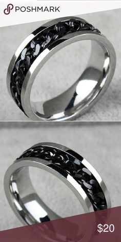Men's Stainless Steel Ring Silver with black chainlink design Jewelry Rings