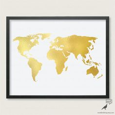 Save 10 chic gold world map on canvas texture by wordbirdshop gold world map poster matte gold print large world map print large world map art gold wall art nursery wall art gumiabroncs Gallery