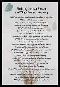 Herbs, Spices & Incense ~ Their Esoteric Meanings ~