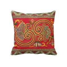 Antique Faux Crewel Vintage Elegant Design Pillow by AntiqueImages