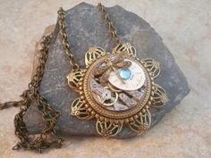 Brass Flower Steampunk Necklace Featuring a Watch by simplywillow, $46.00