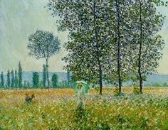 Sunlight Effect Under the Poplars by Claude Monet in oil on canvas, done in Now in the Staatsgalerie Stuttgart. Find a fine art print of this Claude Monet painting. Monet Paintings, Impressionist Paintings, Landscape Paintings, Landscapes, Impressionist Landscape, Claude Monet, Pierre Auguste Renoir, Artist Monet, Spring Art