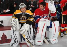 Nice: goalies getting along. Thomas and Price see the fight was a show