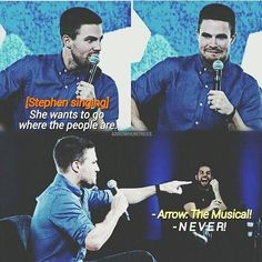 Stephen Amell #Arrow #SDCC #NerdHQ // I need my Arrow musical. I need it.