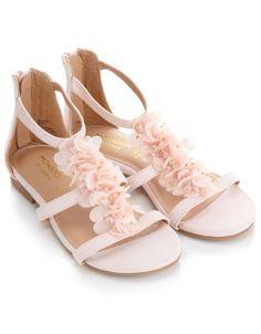 Harpers flower girl shoes wedding party pinterest metallic buy girls clothing beaded cluster flower sandal pink monsoon mightylinksfo
