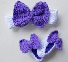 Conjuntó tejido de bale digna o diadema con zapatillas para bebés y niñas  con moño tipo