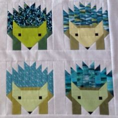 Hazel The Hedgehog Quilting Projects, Sewing Projects, Elizabeth Hartman Quilts, Tiffany Blue, Baby Quilts, Baby Animals, Hedgehog, October, Pillows