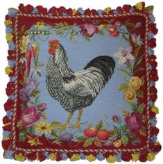 "20"" x 20"" Handmade Wool Needlepoint Rooster Flower Vegetable Pillow with Tassels"
