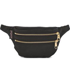 Keep your personal belongings safe and secure with this double pocket fanny pack from Jansport. The Hippyland fanny pack from Jansport features a double zipper and double pocket design with gold zippers and lining. The black canvas is given a little style