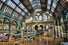 The Corn Exchange, Doncaster, South Yorkshire. It was originally constructed in the 1870s, and was refurbished in the 1990s after a serious fire. The Corn Exchange is at the heart of Doncaster's market, which was first established in the Middle Ages.