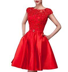 Fanhao Women's Bateau Neck Lace Beading Sashes Pockets Short Evening Gown Dress,Red,L Fanhao http://www.amazon.com/dp/B00YGPJKUQ/ref=cm_sw_r_pi_dp_fK6mwb0B1TT91
