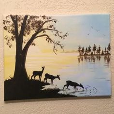 Deer Painting Glow in the Dark Forest lake Deer landscape large custom landscape unique color changing art Peaceful scene wall decor Hunting Painting, Lake Painting, Forest Painting, Easy Canvas Painting, Abstract Canvas, Canvas Art, Spray Painting, Dark Paintings, Unique Paintings