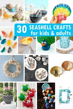 30 SEASHELL CRAFTS for kids and adults for a creative summer. crafts crafts crafts 30 SEASHELL CRAFTS for kids and adults for a creative summer. Kids Activities At Home, Craft Projects For Kids, Diy Crafts For Kids, Fun Crafts, Craft Ideas, Kids Diy, Diy Projects, Ocean Crafts, Seashell Crafts