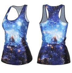 Sexy Stylish Women Graphic Printed T Shirt Blouses Gothic Top Vest Tank Punk Clubwear Party Sleeveless # Blue Galaxy Space