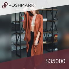 RUST DUSTER JACKET Rust one size long kimono-style jacket. A great piece for fall! Accessories Scarves & Wraps