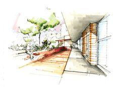 "usfsacd: "" Giancarlo Santillan, USF School of Architecture, Class of 2014 Charette: Vision Center - Fall 2011 Marker on Bristol """