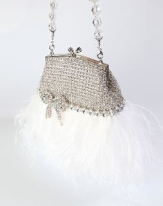 Elle ostrich feather clutch with rhinestones by Sherri Weese on Etsy $535.00 #handmade #fabulous #white