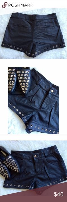 Authentic Leather • Studded Shorts Work once. Authentic leather shorts. Very cute pleating detail. Sparkle & Fade Shorts