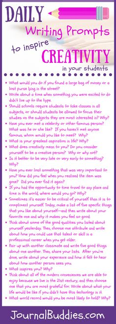 Creative journal prompts are one of the best ways to help your students learn that self-expression is a beautiful and freeing thing& these all-new daily writing prompts are a great way to get started. Writing Prompts For Kids, Writing Classes, Writing Advice, Kids Writing, Teaching Writing, Writing Help, Essay Writing, Writing A Book, Writing Ideas