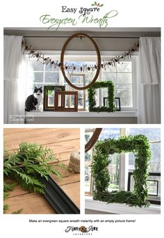 Create a square evergreen wreath with just a picture frame... instantly! via www.funkyjunkinte... #12days72ideas