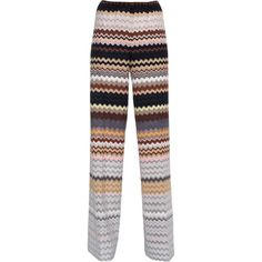 MISSONI Zig Zag Wide Leg Multi // Crochet-knit wide-leg pants (1.970 RON) ❤ liked on Polyvore featuring pants, pantaloni, wide leg palazzo pants, wide leg trousers, wide leg knit pants, high waisted wide leg pants and knit palazzo pants