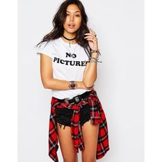 Motel Retro Fitted T-Shirt With No Pictures Print ($11) ❤ liked on Polyvore featuring tops, t-shirts, outfit, shirts, white, fitted t shirts, print t shirts, white t shirt, white short sleeve shirt and slogan t shirts