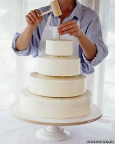Step by step instructions how to level, fill, ice and stack a cake - from Martha Stewart.