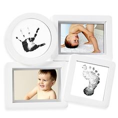 Turn your little one's hand and footprints into a sweet keepsake display with this Pearhead Babyprints Collage Frame. It features 4 openings to show off prints and 2 favorite photos. The included Clean-Touch inkpad makes it totally mess free.