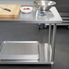 Stainless Steel Prep Table, Stainless Steel Types, Stainless Steel Appliances, Stainless Steel Kitchen, Small Appliances, Industrial Kitchen Design, Food Storage Boxes, Large Shelves, Commercial Kitchen
