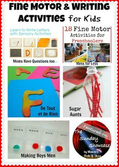 fine motor and writing activities for kids - ideas for strengthening fine motor skills and fun writing practice (featured on the Sunday Showcase)