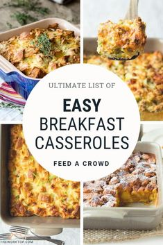 Dont want to miss these Easy Breakfast Casserole Recipes See the list of the best breakfast casseroles Simply pop these in the oven and breakfast is served Easy family fr. Easy Breakfast Casserole Recipes, Overnight Breakfast Casserole, Brunch Casserole, Best Breakfast Recipes, Paleo Breakfast, Brunch Recipes, Easy Egg Casserole, Dinner Recipes, Breakfast For A Crowd