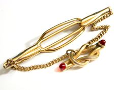 Anson Love Knot Tie Clip 10K Gold Art Deco Ruby Red Men's Vintage Accessory 10K Gold Overlay or GF Swag Chain Red Glass Anson Pat Pend by JewelryQuestDesign, $59.99