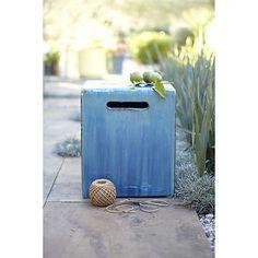 Carilo Blue Garden Stool  | Crate and Barrel
