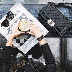 7feb3658bd1 Lattē + sunglasses + Chanel bag Chanel Boy Bag