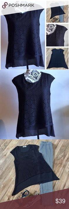 Black cap sleeve shark bite lace crochet blouse Dressy black shark bite blouse with dainty black lace/crochet detailed front. Cap sleeves. 100% polyester. Machine wash. Never worn, only washed! Cato Tops Blouses