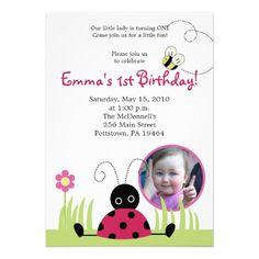5x7 Little Ladybug *PHOTO* Spring Birthday Invites