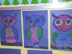 owlets - oil pastels