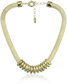 """Anne Klein """"ARCADIA"""" Mesh Collar Necklace - Anne, Arcadia, Collar, Klein, Mesh, Necklace - http://designerjewelrygalleria.com/anne-klein-jewelry/anne-klein-arcadia-mesh-collar-necklace/"""