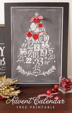 Free Printable Advent Calendar poster - count down to Christmas in chalkboard style!