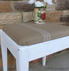 See how a plain Goodwill stool was given a vintage farmhouse makeover with Chalk Paint® decorative paint by Annie Sloan | By Girl in the Garage