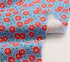 Vintage Feed Sack Style Red Floral Pattern Linen by luckyshop0228, $17.80