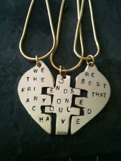You Complete Me Sterling Silver hand stamped pendant Puzzle Pendant best friends forever custom personalized 3 part pendant  42.00. $42.00, via Etsy.