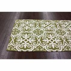 Handmade Luna Spanish Tile Green Wool Rug (5' x 8')