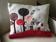 feeling stitchy: House Pillow created by Isabel Freire, wonderful blend of different techniques and textures