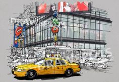 Yellow cab in New York Colorful handmade drawing of New York  Digitally printed on acid free paper, professional quality. Open Edition Print. Watermark not appear in prints.  NOTE: Colors may vary from screen to screen. This price is for Registered shipment! Unframed  Prints will be shipped in a cellophane sleeve with foamboard or similar for added support. I send my prints off to their new home within 1-3 days of payment. I ship my international orders by air after Im notified of your…