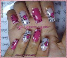 Ideas nails gel pink and white Fingernail Designs, Acrylic Nail Designs, Nail Art Designs, Pretty Nail Art, Beautiful Nail Art, Fabulous Nails, Gorgeous Nails, Toe Nails, Pink Nails