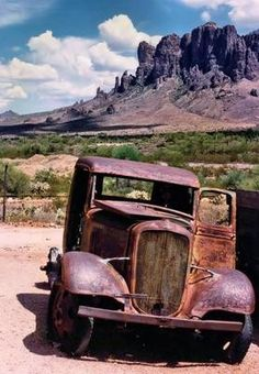 """Driving along old Route 66 you see abandon cars like this in New Mexico, left over from The Great Depression John Steinbeck wrote about in """"The Grapes of Wrath."""""""