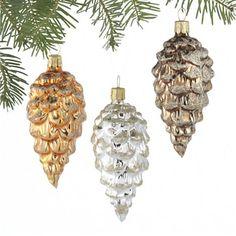 Glass Pinecone Ornaments
