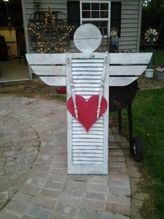 Enter the full repurposed Garden – Ente… Angel Crafts, Xmas Crafts, Wood Crafts, Garden Crafts, Garden Projects, Shutter Angel, Valentine Decorations, Christmas Decorations, Shutter Projects