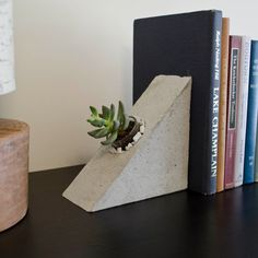 Concrete bookend planters